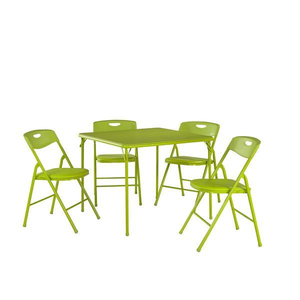 Ensemble de table et chaises pliantes, 5 pièces, vert