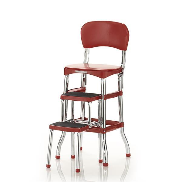 Chaise escabeau à 2 marches, métal/plastique, rouge, 3'