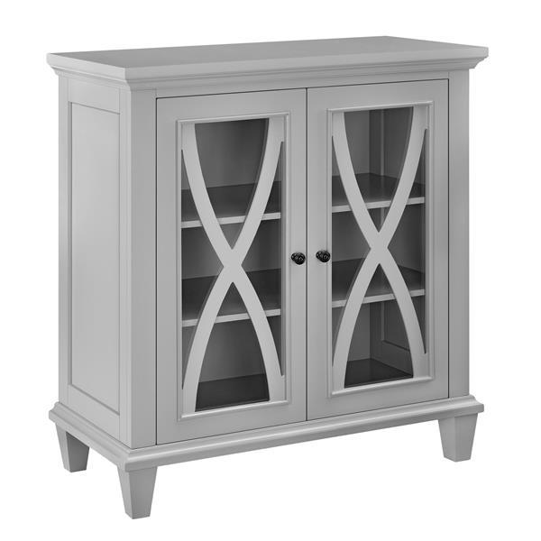 Armoire à double porte en verre Ellington, gris