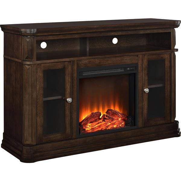 """Ameriwood Home Brooklyn TV Stand for TVs up to 50"""" with Electric Fireplace"""