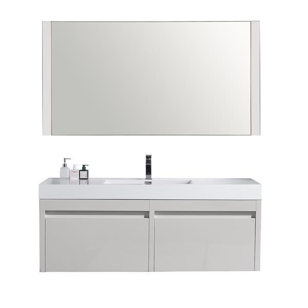 Meuble-lavabo Selena avec miroir, évier simple, 60po blanc