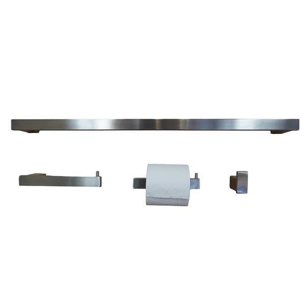 BOANN Sweden Bathroom Accessory Set - 4 PK - Brushed Nickel