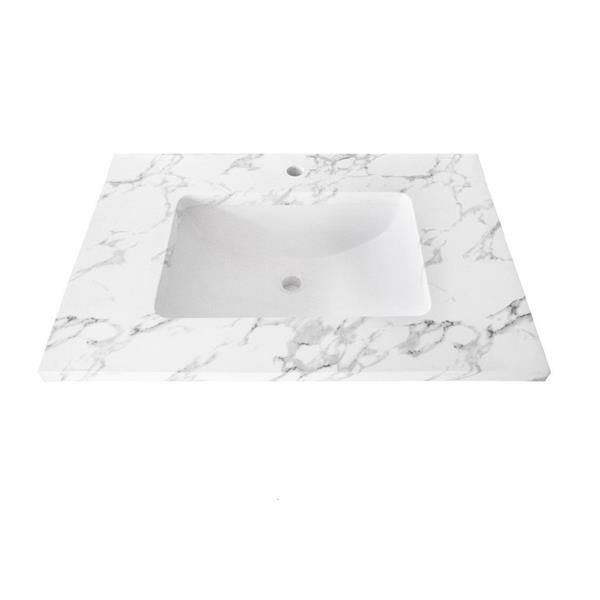 """Dessus de meuble-lavabo simple, 25"""" x 22"""", quartz, blanc"""