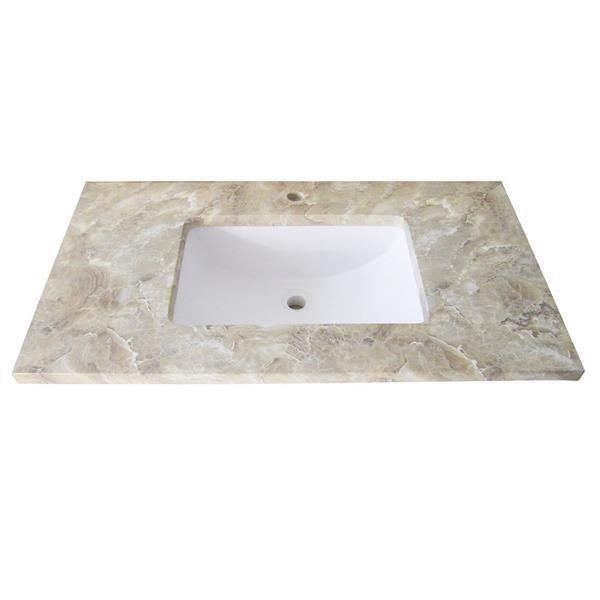 """Dessus de meuble-lavabo simple, 37"""" x 22"""", quartz, beige"""