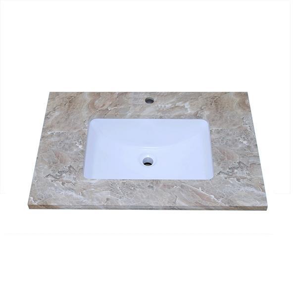 """Dessus de meuble-lavabo, 31"""" x 22"""", quartz, brun veiné"""