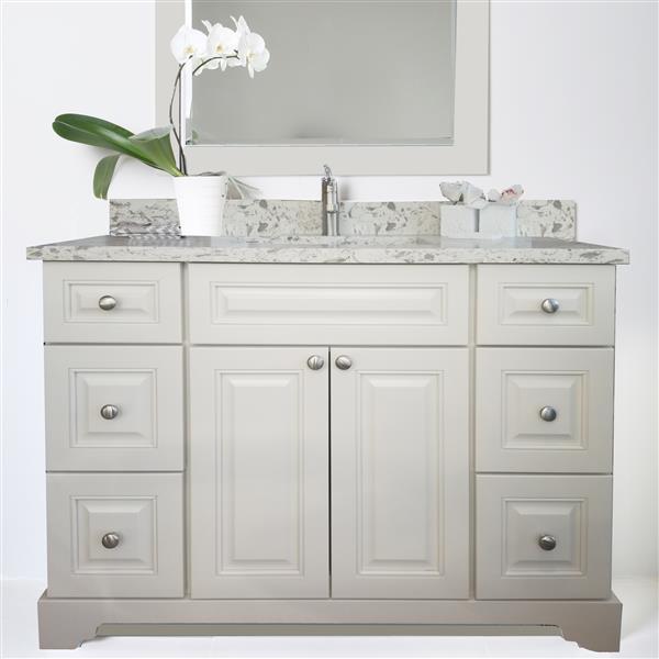 """Meuble-lavabo/dessus en quartz «Bold Damian», 48"""", blanc"""