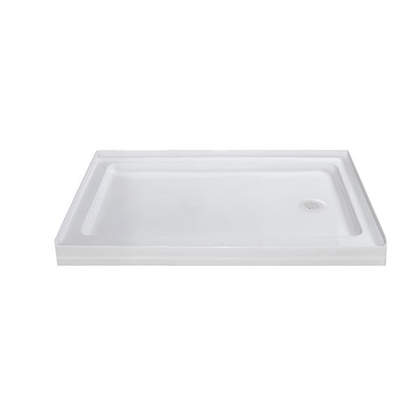 Turin Horizon Shower Base,  Right Drain  -White - 36-in x 48-in