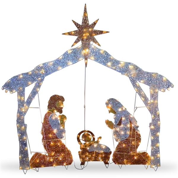 """National Tree Co. Nativity Scene with Clear Lights - 72"""" - Multicoloured"""