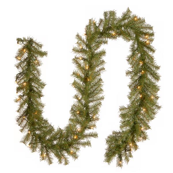Guirlande de sapin National Tree Co. avec lumières claires Norwood, 9', verte
