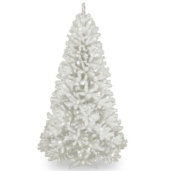 Épinette de Noël avec lumières claires North Valley(MD), 7 pi, blanc