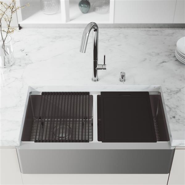 Évier double acier inoxydable Oxford 36 po, robinet Oakhurst, distributeur savon