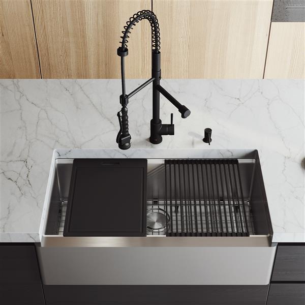 Évier acier inoxydable Oxford 36po, robinet Zurich noir, distributeur de savon