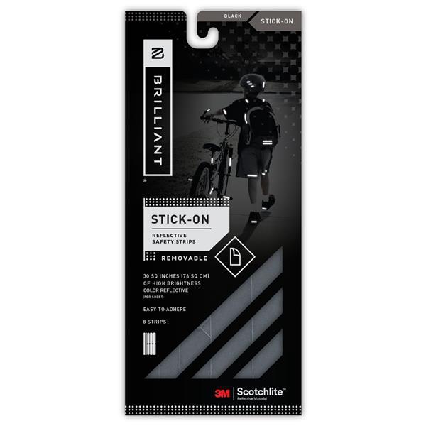 Spacio Innovations Inc. Reflective Strips Stick-On - Black - 8 Strips