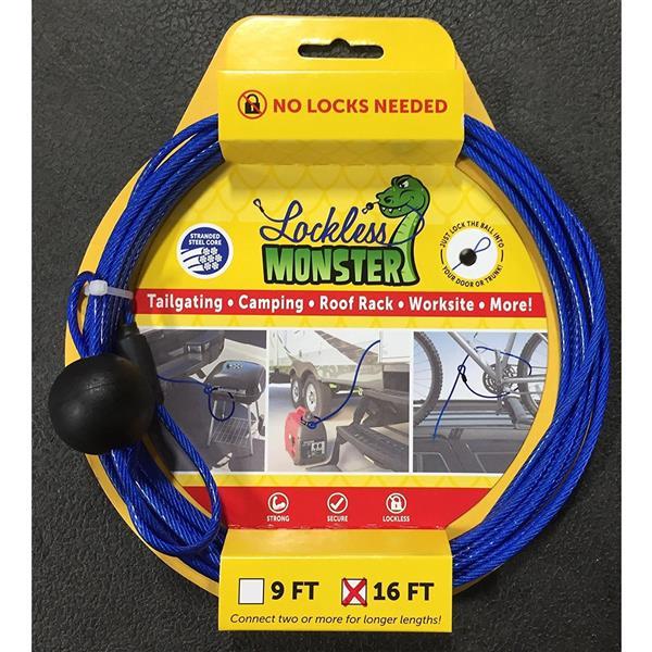 Câble antivol sans verrou Lockless Monster, 2 unités par paquet (9 pi et 16 pi)