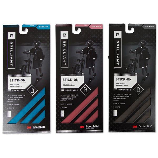 Bandes réfléchissantes autocollantes bleu, rouge et noir, 3 pq de 8