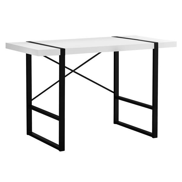 Bureau d'ordinateur Monarch, imitation de bois blanc et métal noir, 48 po