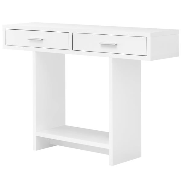 Table console Monarch avec tiroirs, blanc, 48 po