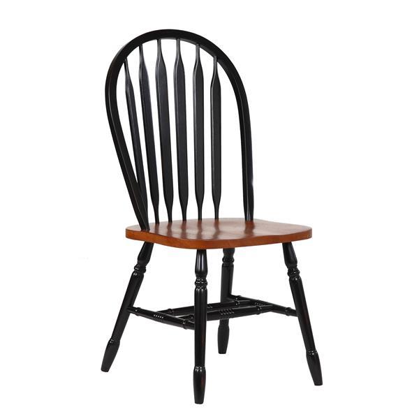 Chaise de salle à manger Black Cherry Selections de Sunset Trading, type arrowback, 38 po, noir antique/brun, ens. de 2