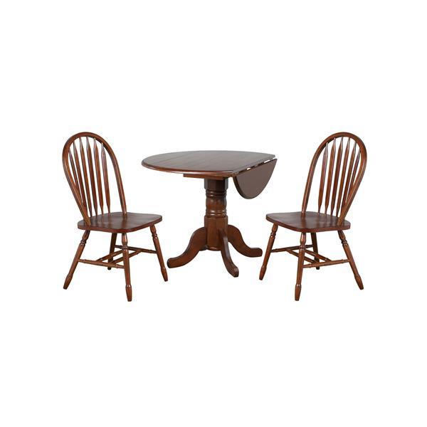 Sunset Trading Andrews Round Dining Set - Leaf Table - Set of 3 - Dark Chestnut