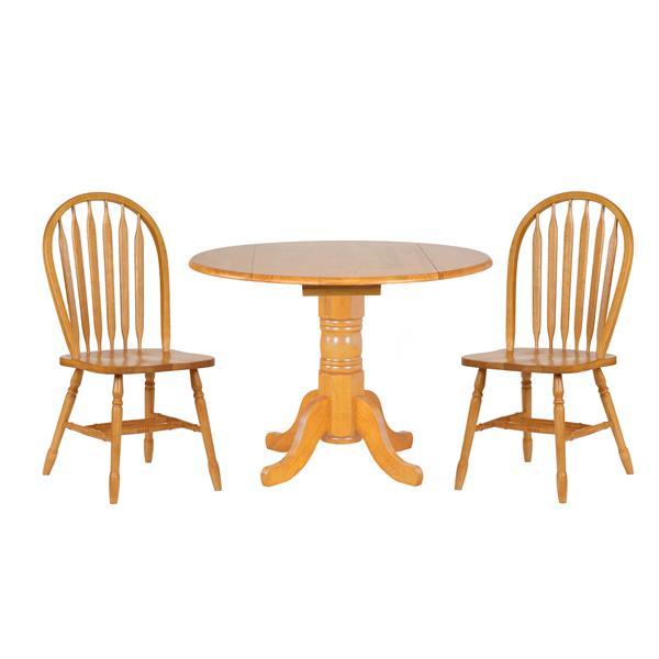 Ensemble de salle à manger Oak Selections de Sunset Trading, 3 pièces, chêne naturel