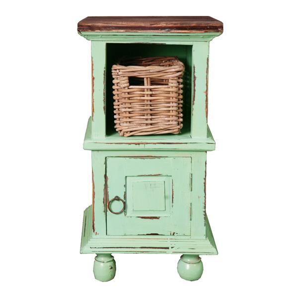 Table d'appoint Shabby Chic Cottage de Sunset Trading, 14 po x 26,5 po, sarcelle antique