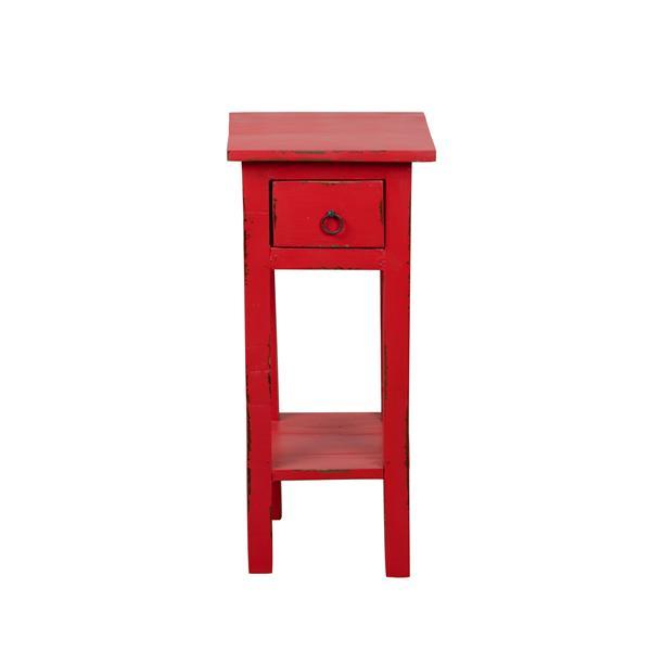 Table d'appoint Shabby Chic Cottage de Sunset Trading, 1 tiroir, 11,75 po x 25,75 po, rouge antique