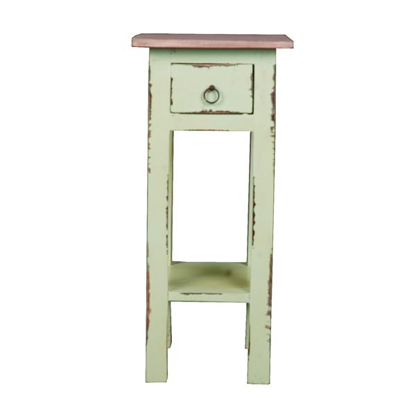 Table d'appoint Shabby Chic Cottage de Sunset Trading, 11,5 po x 25,5 po, sarcelle antique