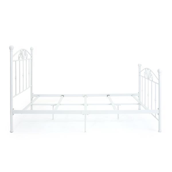 Base de lit Bolton Classical de Best Selling Home Decor, grand lit, fer forgé blanc