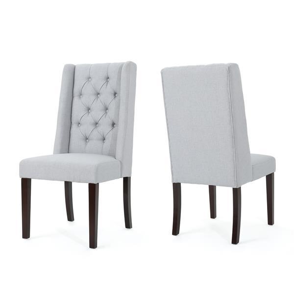 Chaise de salle à manger Pensacola de Best Selling Home Decor, tissu gris pâle, ens. de 2