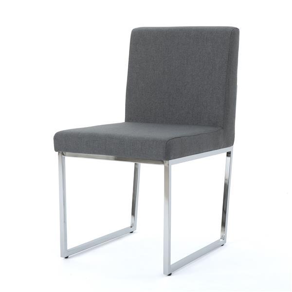 Chaise de salle à manger Nathan de Best Selling Home Decor, tissu gris