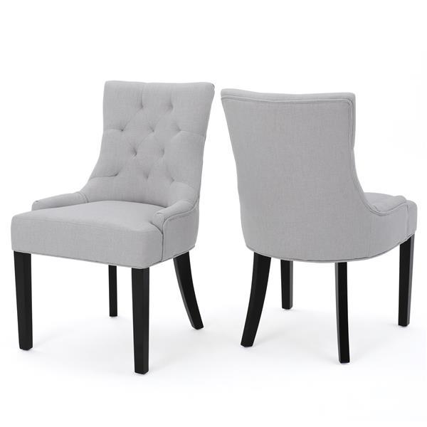 Chaise de salle à manger Angelique de Best Selling Home Decor, tissu gris pâle, ens. de 2