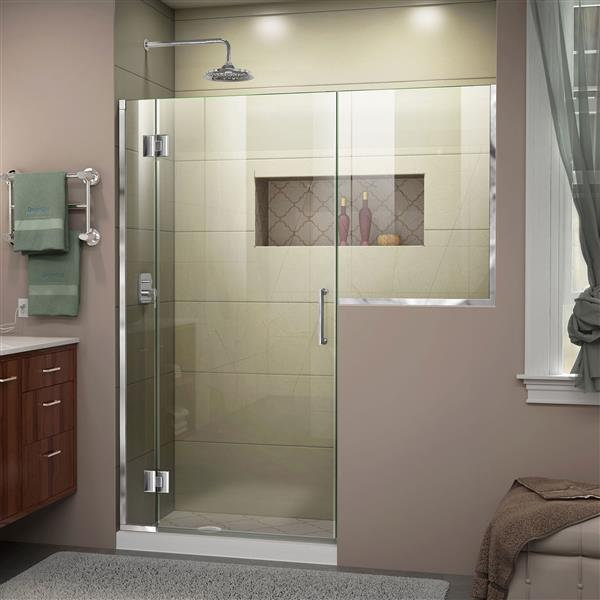 Porte de douche en verre Unidoor-X DreamLine, 60-60,5 po x 72 po, chrome