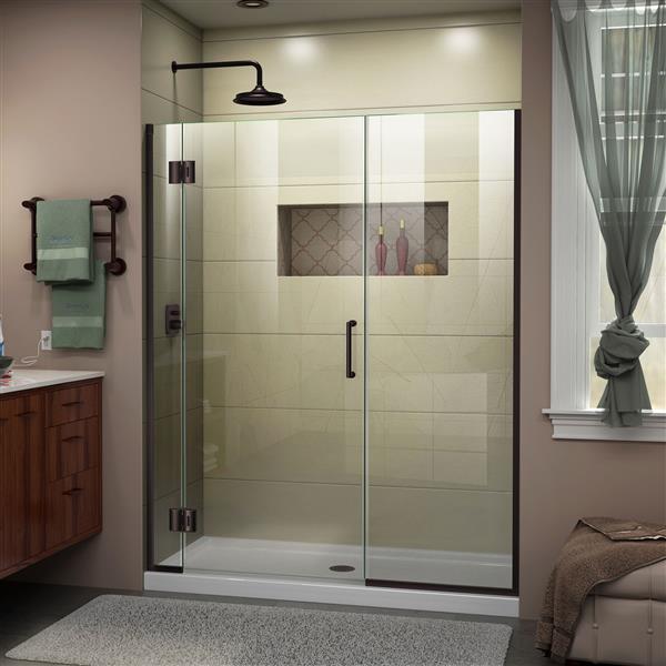 Porte de douche Unidoor-X DreamLine, 48-48,5 po x 72 po, bronze huilé