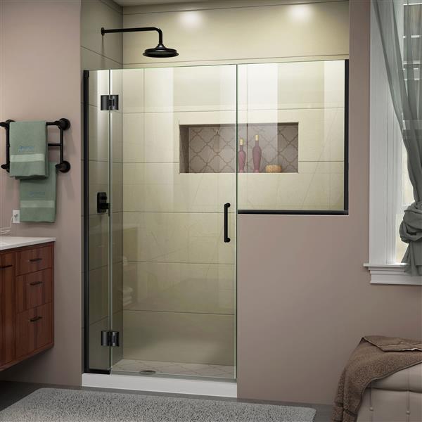 Porte de douche sans cadre Unidoor-X DreamLine, 61-61,5 po x 72 po, noir