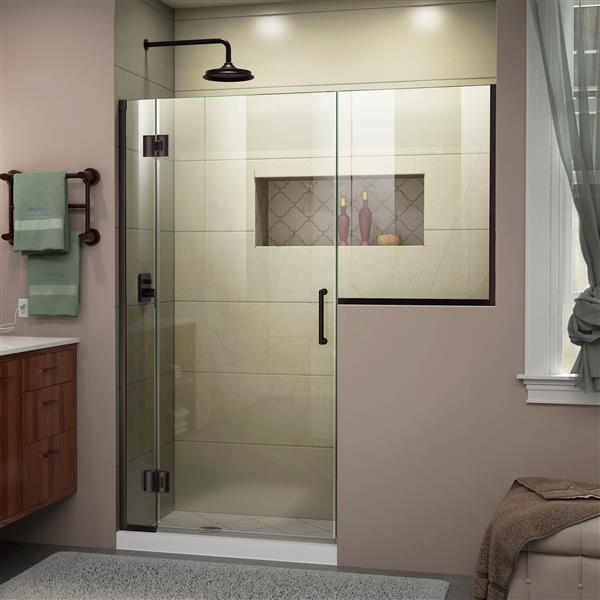 Porte de douche Unidoor-X DreamLine, sans cadre, 60-60,5 po x 72 po, bronze