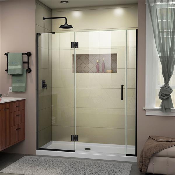 Porte de douche en verre Unidoor-X DreamLine, 53-53,5 po x 72 po, noir