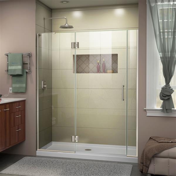 Porte de douche en verre Unidoor-X DreamLine, 53-53,5 po x 72 po, nickel