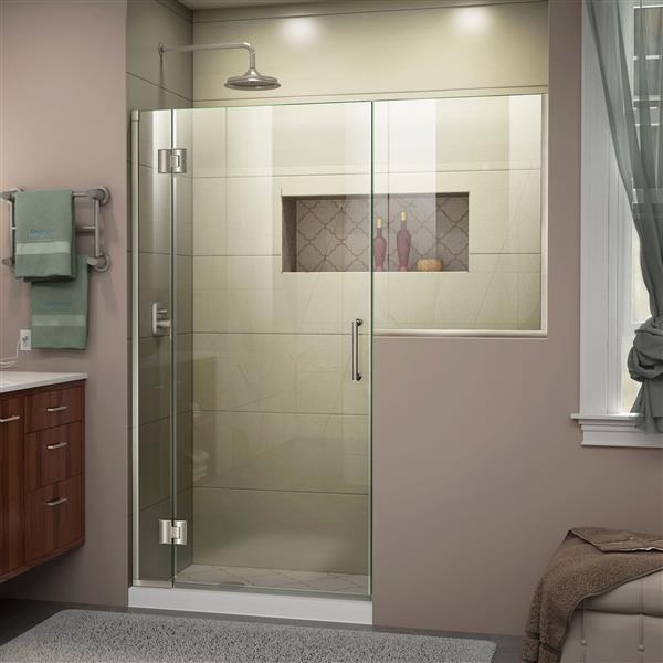 DreamLine Unidoor-X Shower Door - 65.5-in x 72-in x 36-in - Brushed Nickel