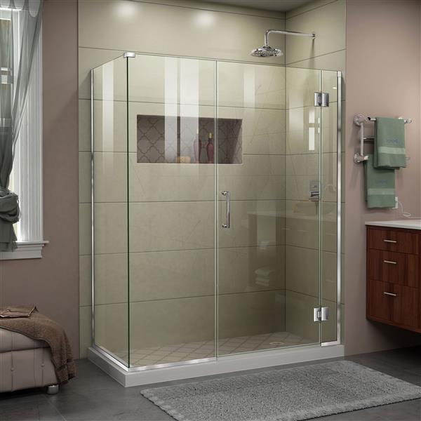 Cabine de douche en verre Unidoor-X de DreamLine, 4 panneaux, 52 po, chrome