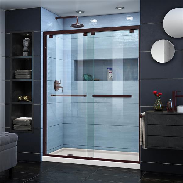 Ensemble de douche en verre Encore de DreamLine, 30 po x 60 po, bronze