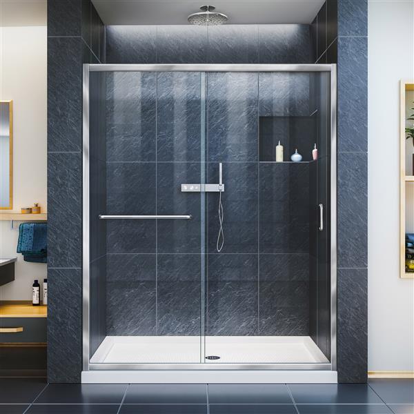 DreamLine Infinity-Z Alcove Shower Kit - 32-in - Center Drain - Chrome