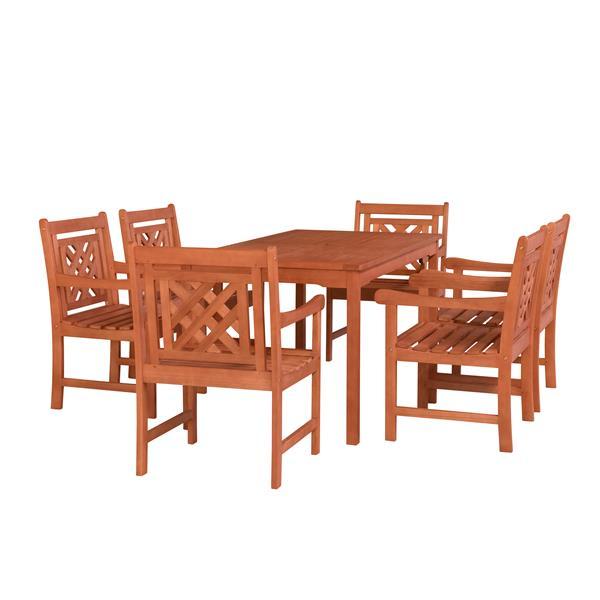 Vifah Malibu Outdoor Wood  Rectangular Table Dining Set - 7-pcs