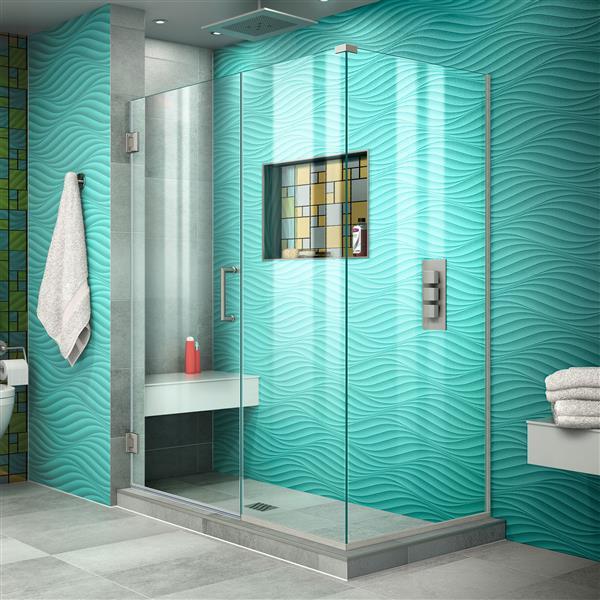 DreamLine Unidoor Plus Shower Enclosure - 47.5-in x 72-in - Brushed Nickel