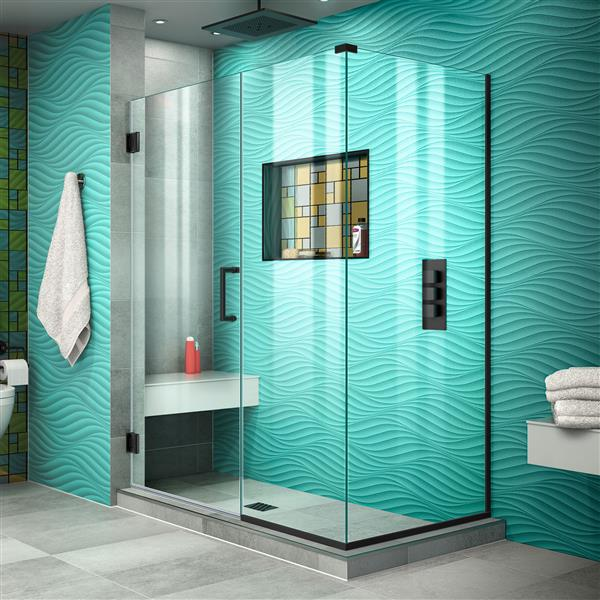 DreamLine Unidoor Plus Shower Enclosure - Clear Glass - 47.5-in x 72-in - Satin Black