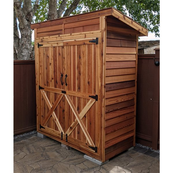 Cedarshed Bayside Double Door Storage Shed - 6 ft x 3 ft - Brown