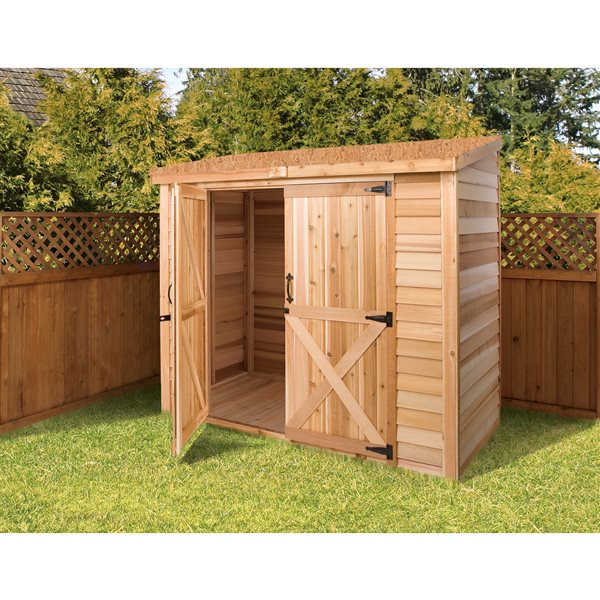 Cedarshed Bayside Double Door Storage Shed - 8 ft x 4 ft - Brown