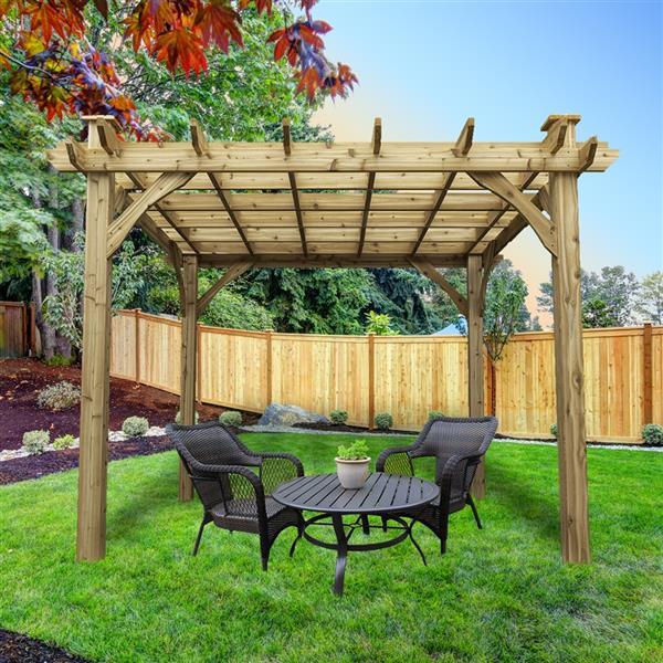 Cedarshed Cedar Pergola - 10 ft x 10 ft - Brown