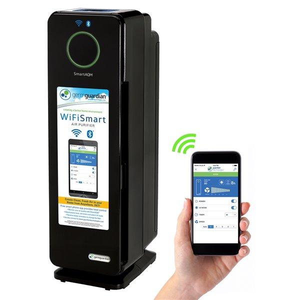 Purificateur d'air intelligent 4-en-1 GermGuardian CDAP4500BCA, wi-fi, 22 po