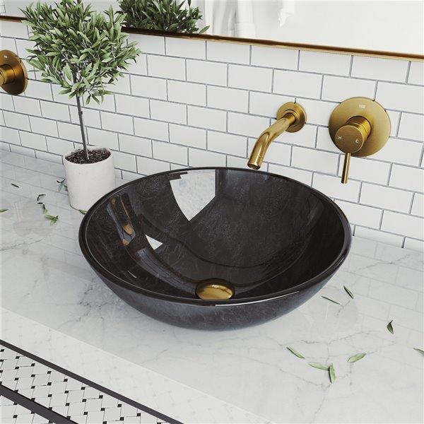 Lavabo de salle de bains gris onyx de VIGO, robinet or mat, 16,5 po