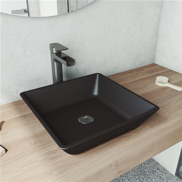 VIGO Roma Matte Black Bathroom Sink - Graphite Black Faucet